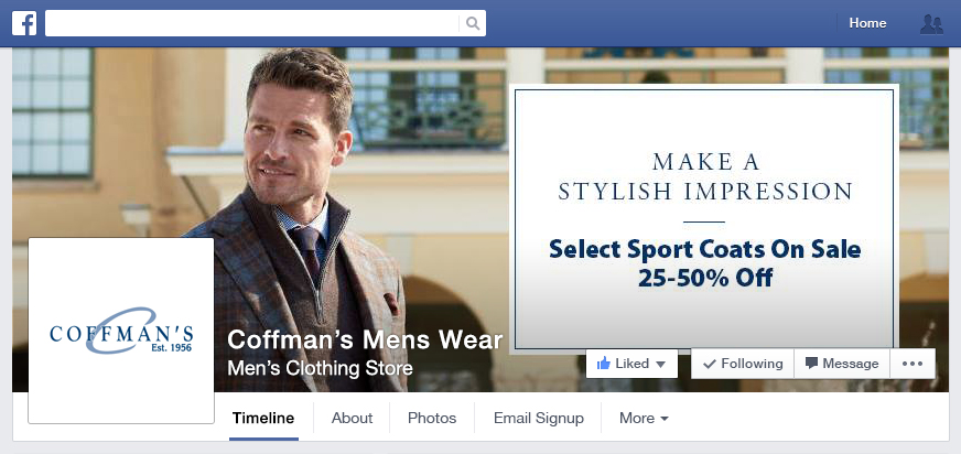 Coffman's Mens Wear Facebook header
