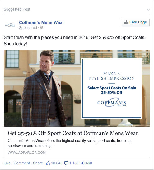 Coffman's Mens Wear Paid Facebook advertisement