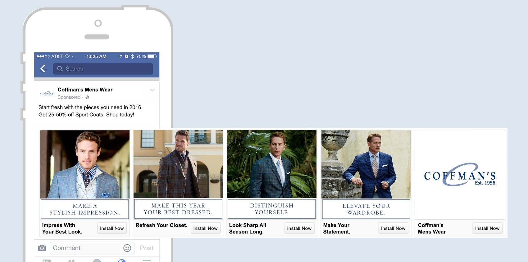 Coffman's Mens Wear Facebook Carousel advertisement