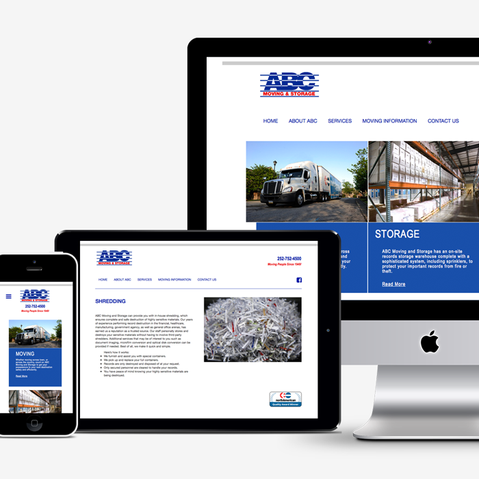 ABC Moving & Storage website displayed on phone, tablet and desktop computer