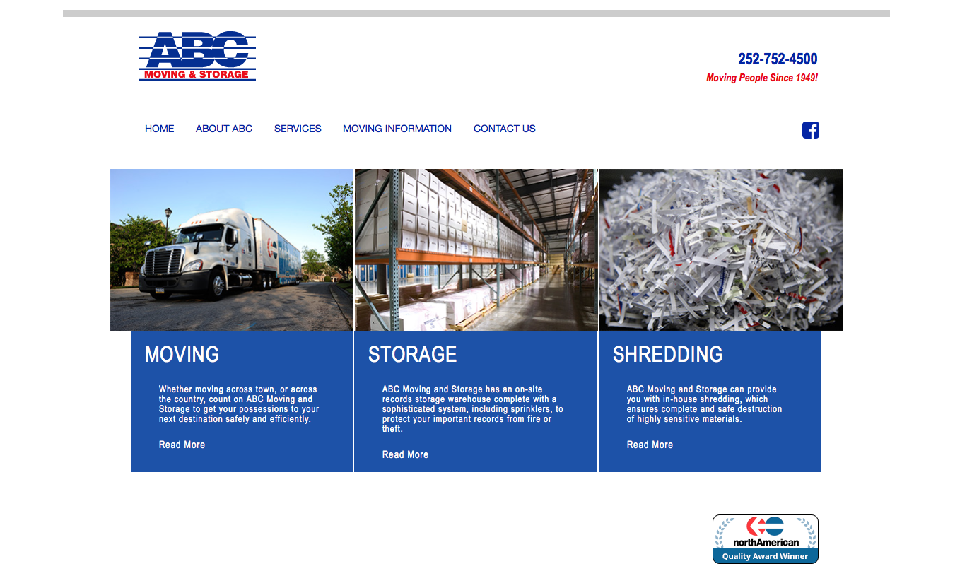 ABC Moving & Storage website