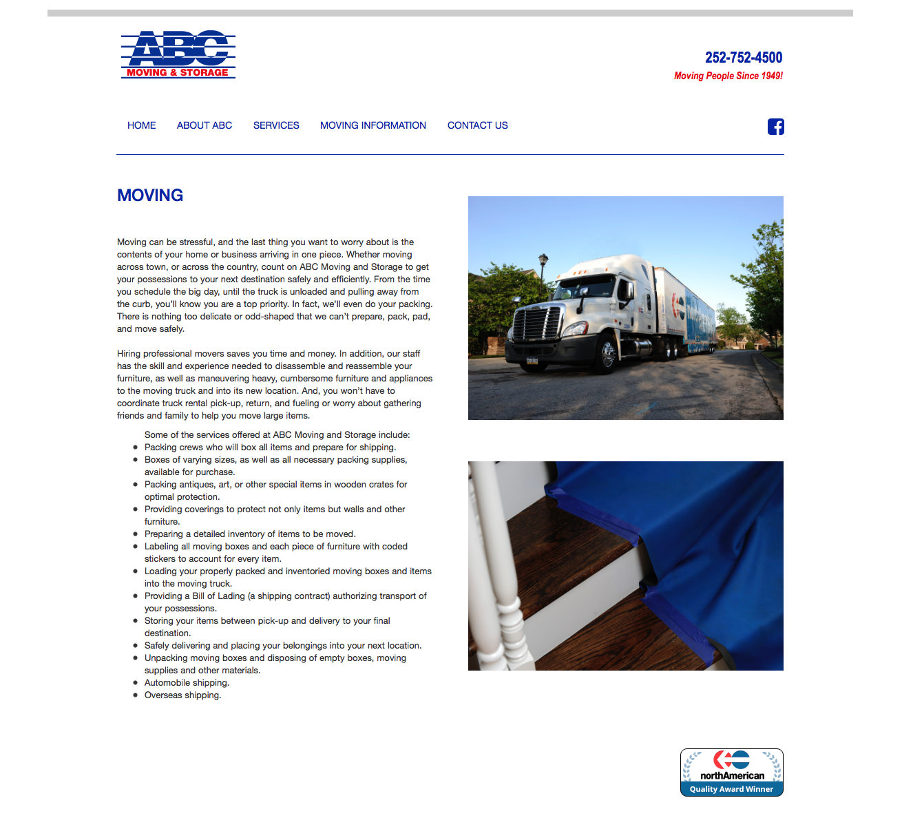 ABC Moving & Storage website build by Igoe Creative