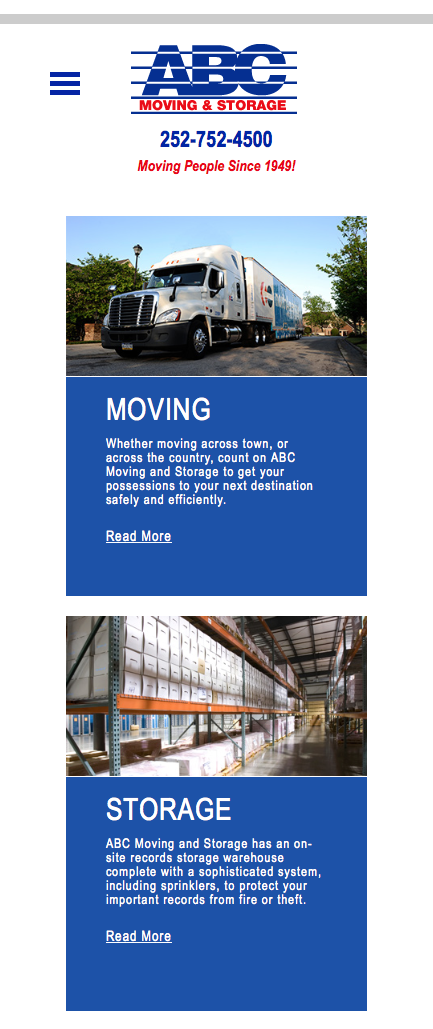 ABC Moving & Storage mobile-friendly website display