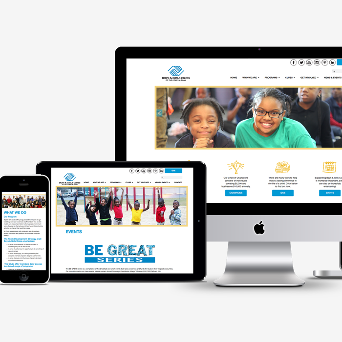 Boys and Girls Clubs website across multiple platforms