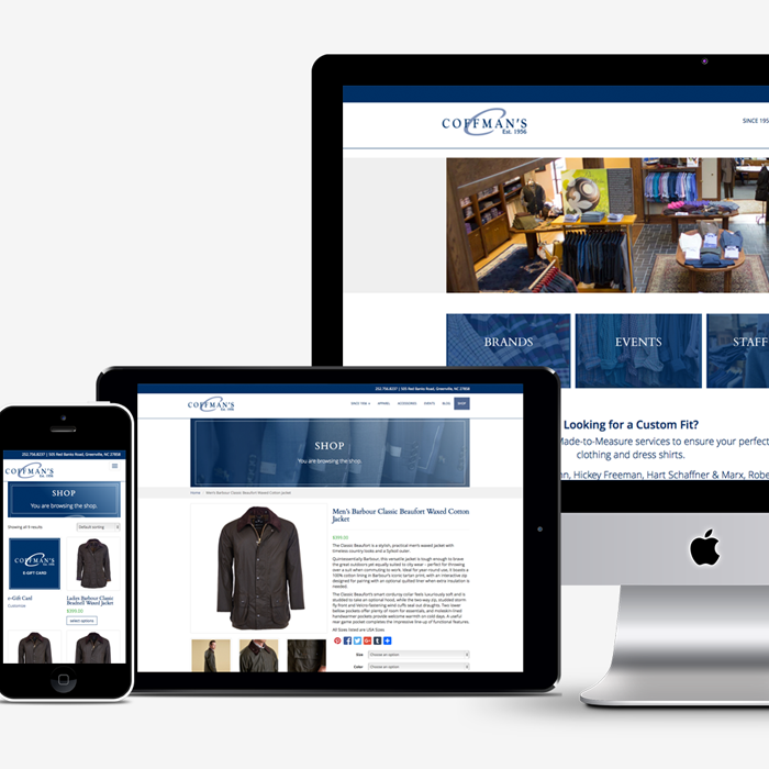 Coffman's Mens Wear website displayed on phone, tablet and desktop computer