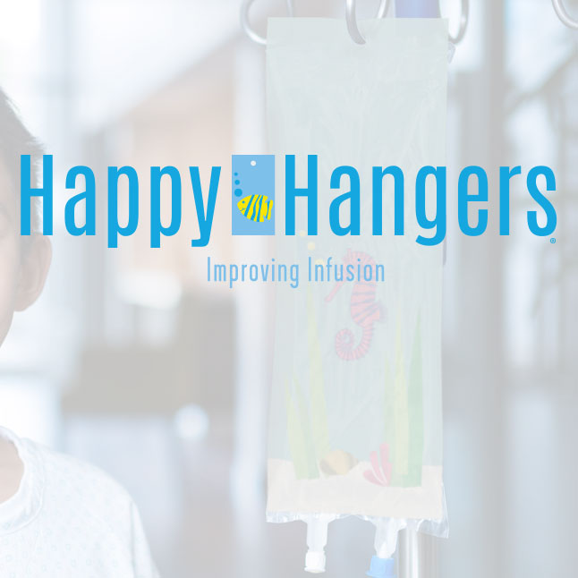 Happy Hangers Logo Design over an IV bag