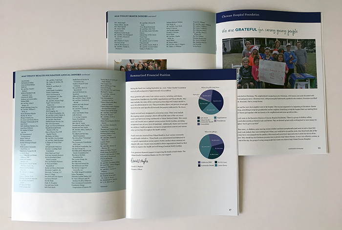 Vidant Health Foundation inside spread of the annual review