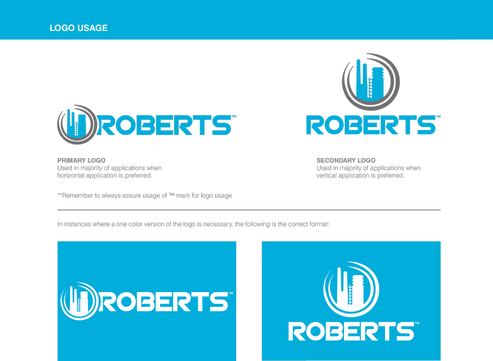 The Roberts Company logo usage guide