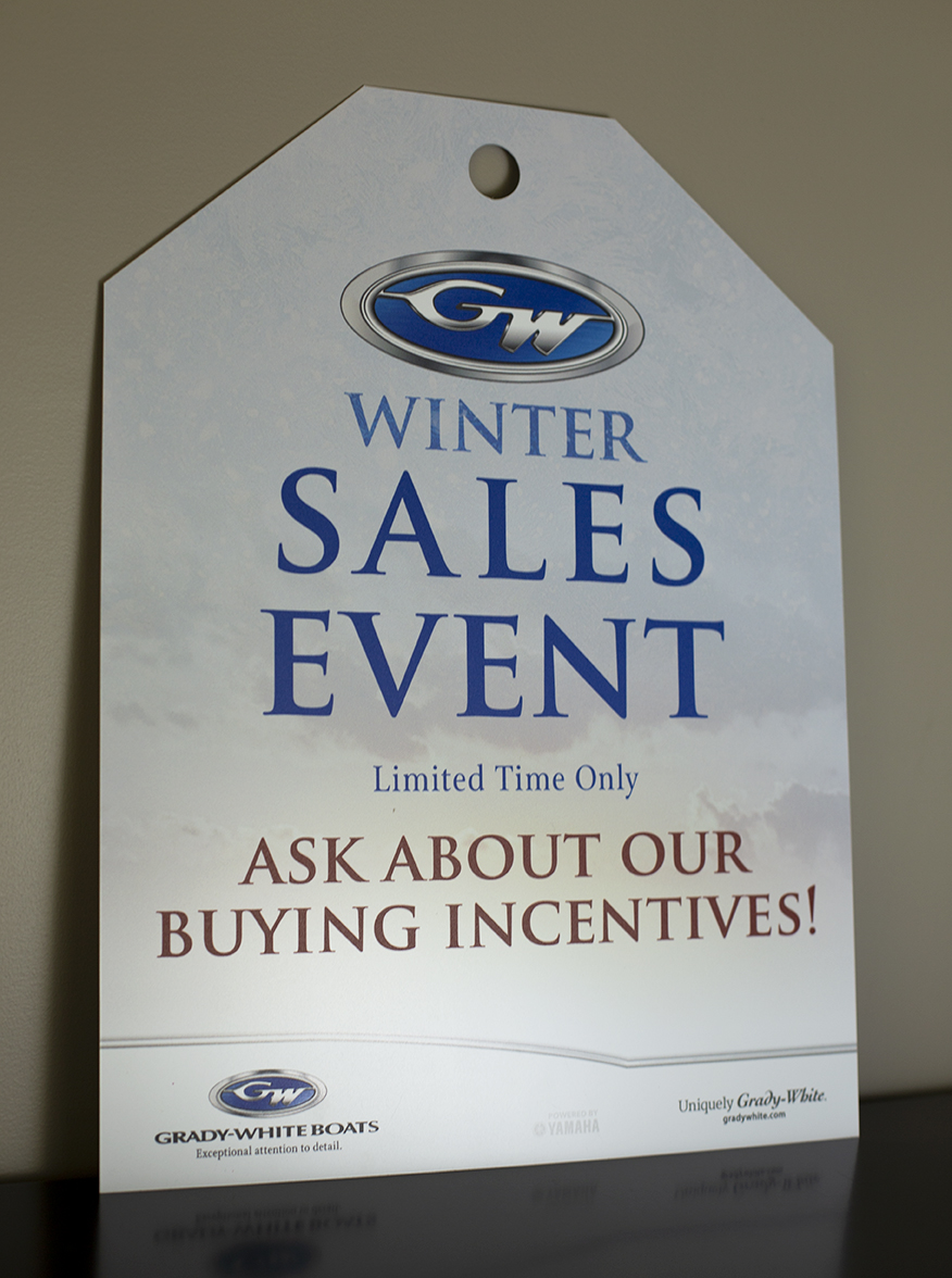 Grady-White winter sales event sale tag