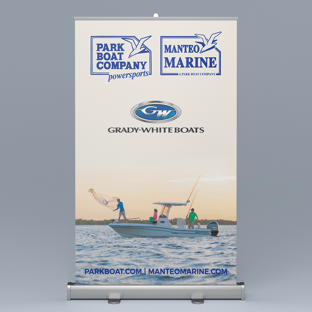 Park Boat Company Tradeshowe banner featuring Grady-White Boats